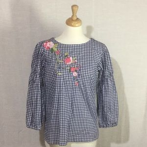 Cupio Navy White Gingham Blouse Embroidered